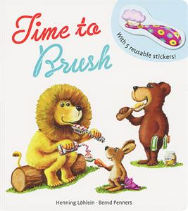 Usborne's Time to Brush book cover with fun illustration of animals brushing their teeth.