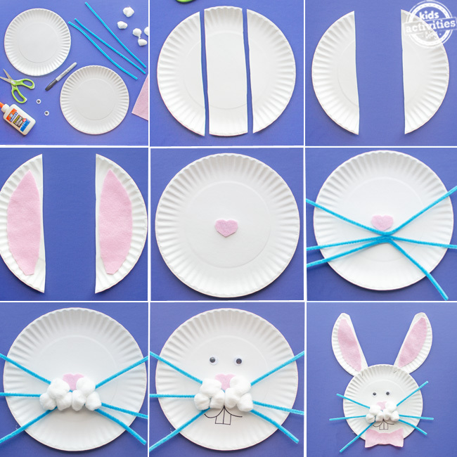 Paper plate Bunny craft steps