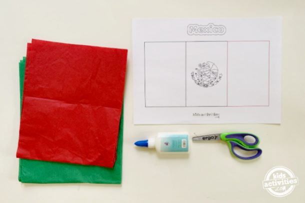 supplies for making mexican flag preschool activity using tissue paper, scissors, glue and free printable
