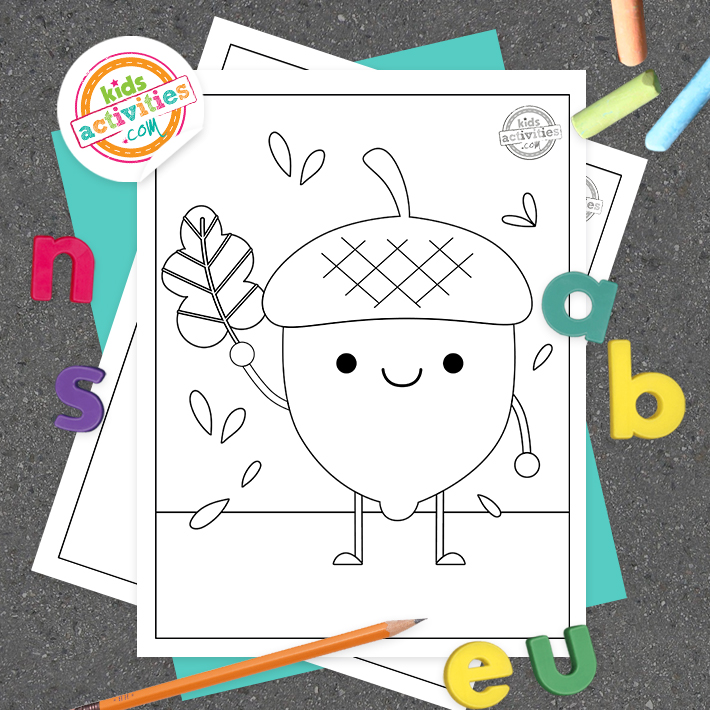 Acorn Coloring Pages Square