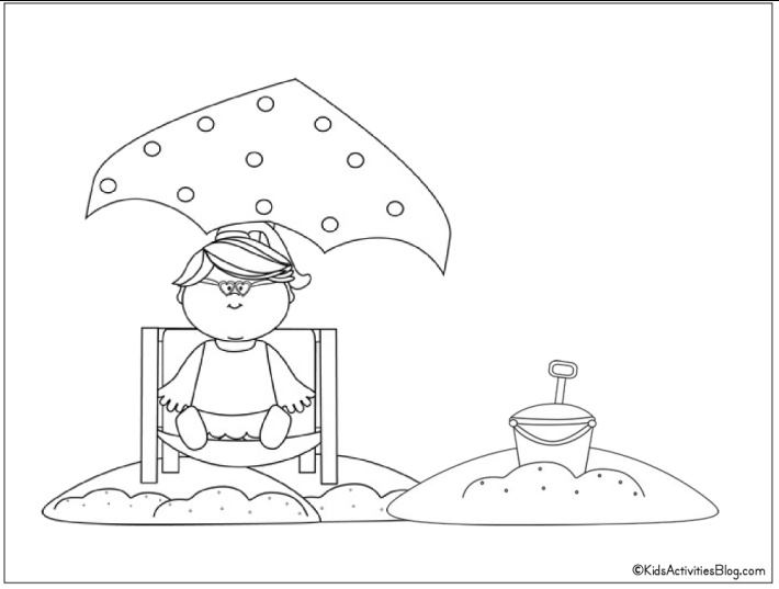 Baby at the beach with umbrella coloring page - free printable from Kids Activities Blog