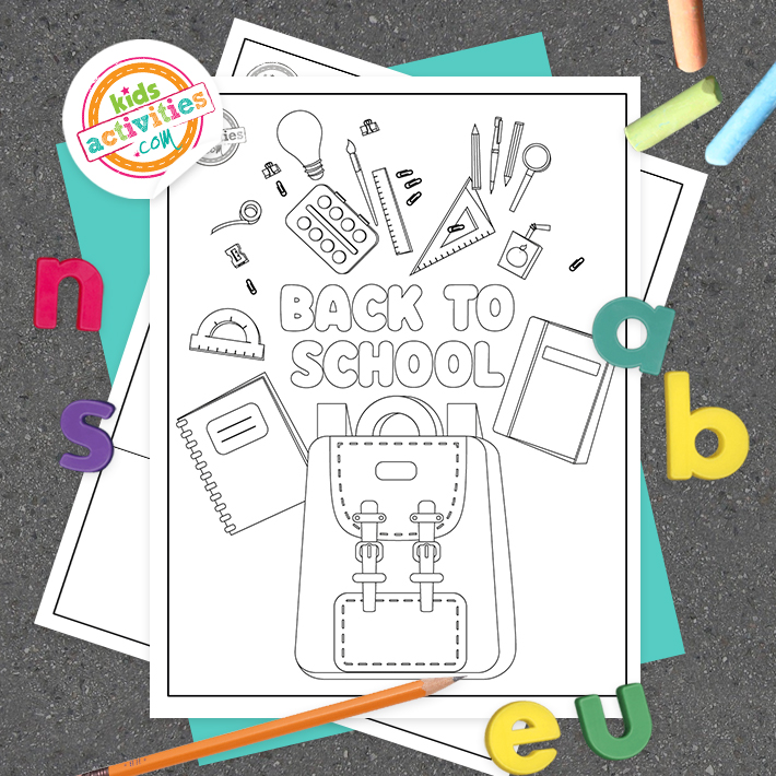 Back to school coloring pages for preschool Square
