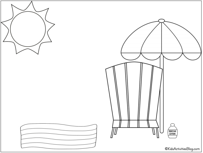 Beach chair and beach umbrella coloring page - Free Printable from Kids Activities Blog