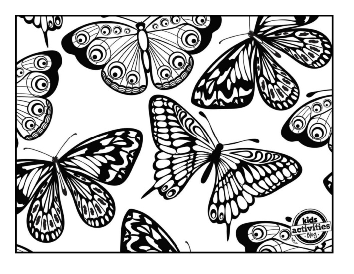 lots and lots of butterflies coloring page pdf in black ink