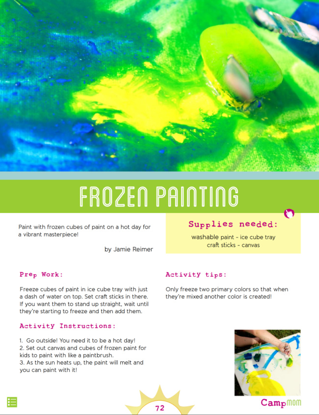 Camp Mom Art Ideas - Frozen Painting - Kids Activities Blog - pdf shown of page 72 in Camp Mom frozen painting instructions