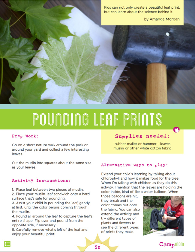Camp Mom - Nature theme - Pounding leaf prints - Kids Activities Blog - pdf page from Camp mom with instructions on pounding leaf prints