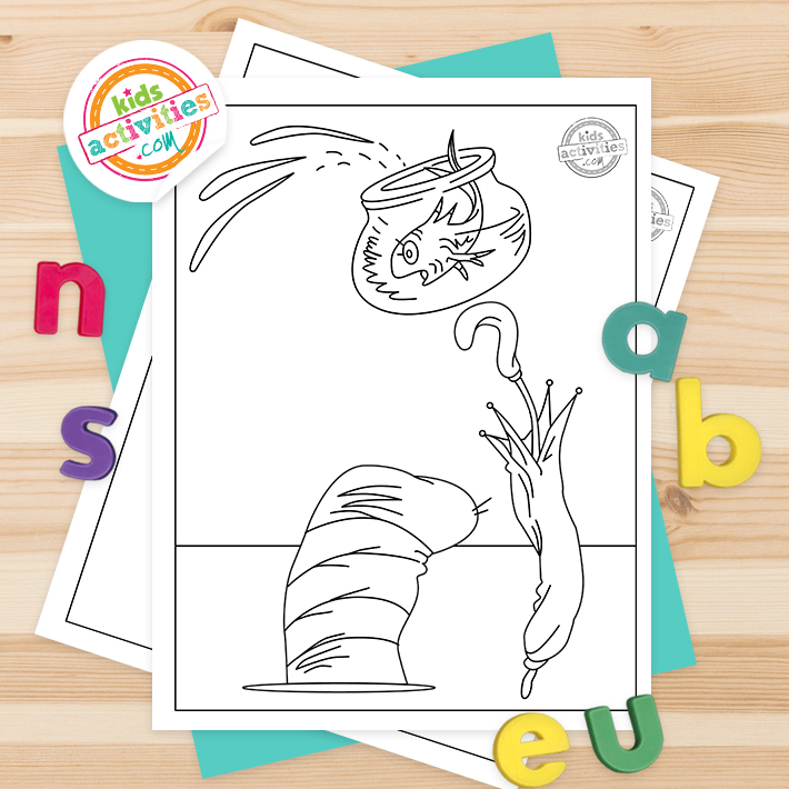 Cat in the hat Coloring Pages Square