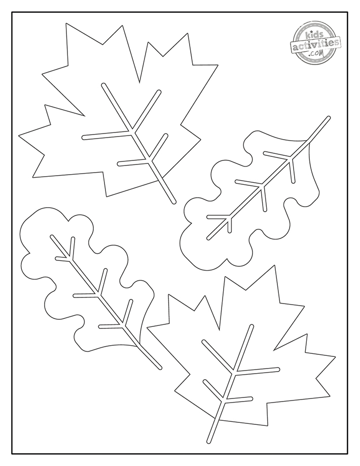 Fall Leaf Coloring Pages free