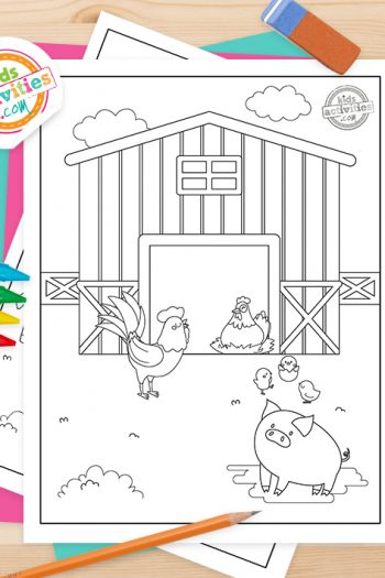 Farm Animals Coloring Pages Feature Image