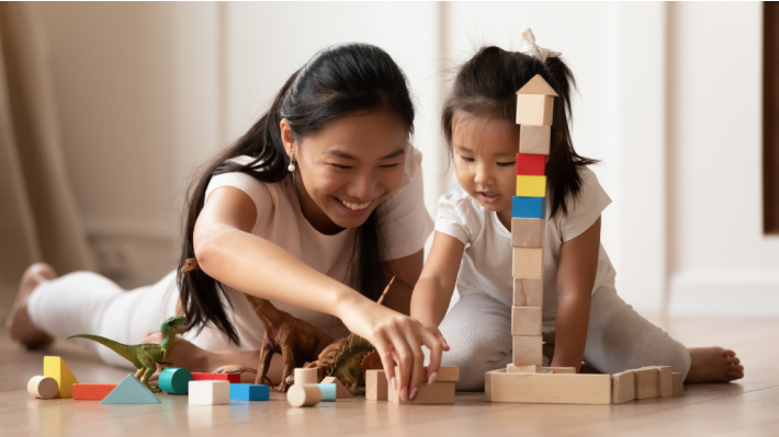 Getting Ready for Kindergarten with Kindergarten Readiness Checklist - Kids Activities Blog - mom and child playing together with blocks