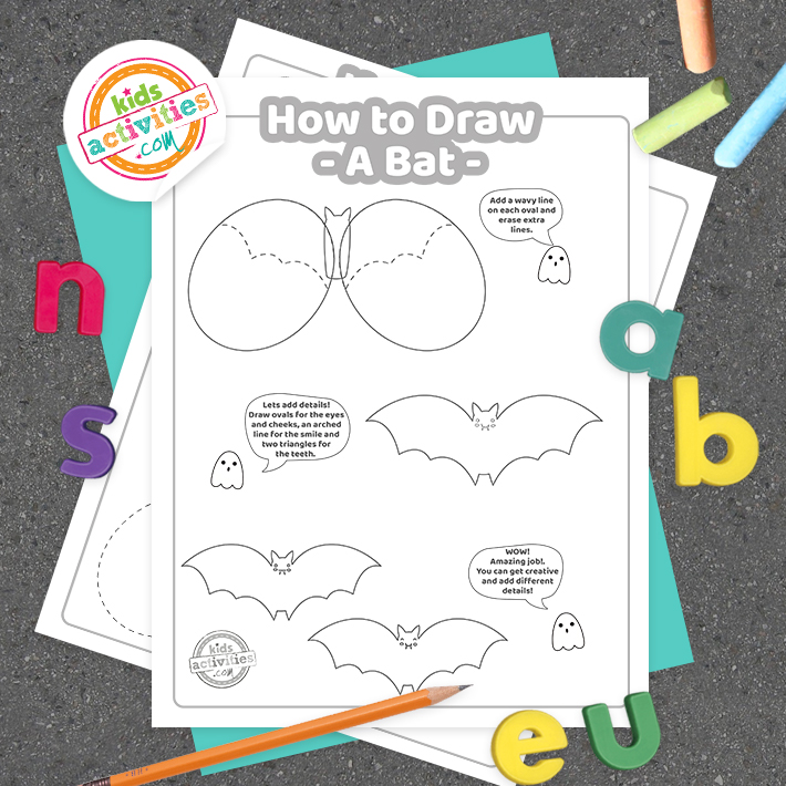 How To Draw a bat coloring page Square