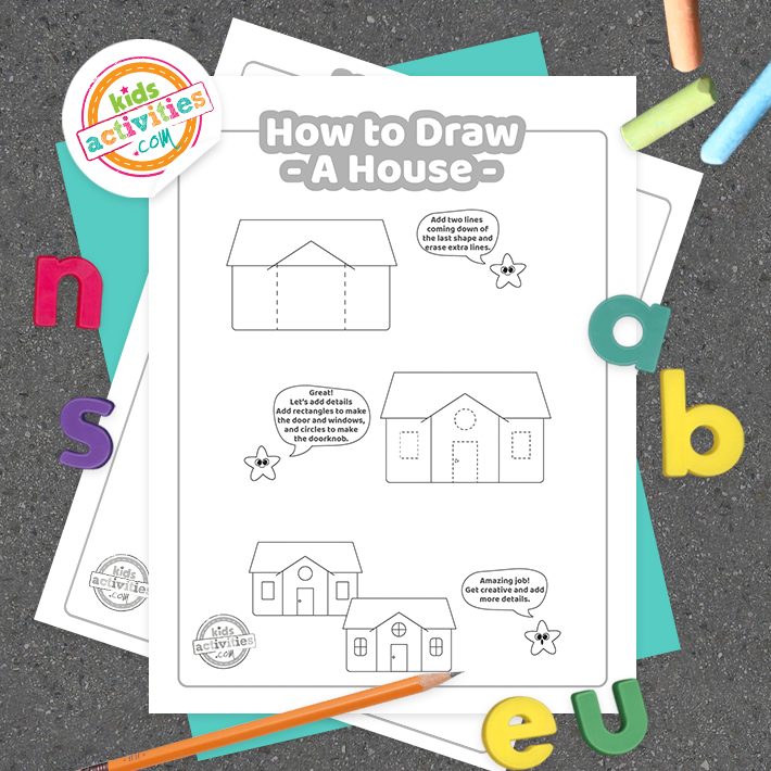 How To Draw a house coloring page Square