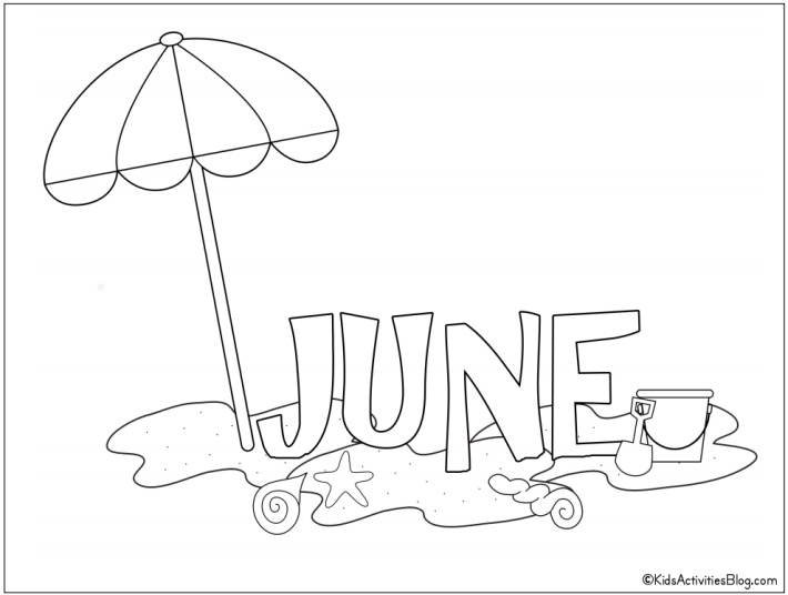 June Coloring page pdf shown with the words JUNE and a beach umbrella on sand with starfish - free printable coloring page from Kids Activities Blog