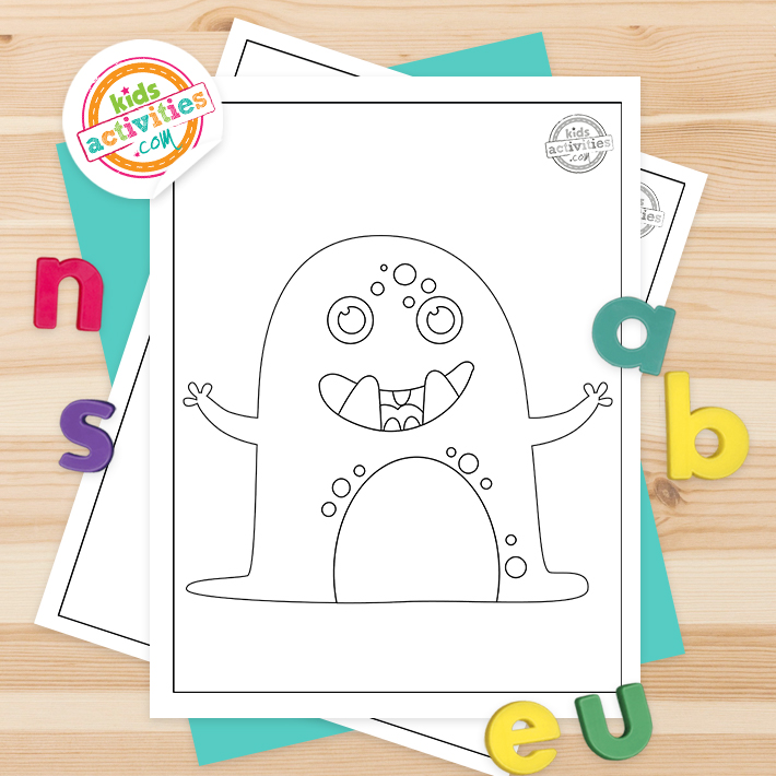 Monster Coloring Pages Square