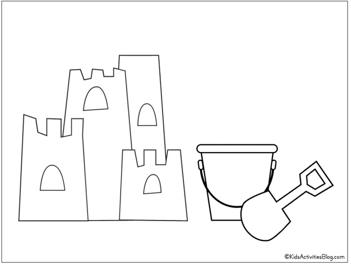 Sandcastle coloring page with pail pdf- Free Printable from Kids Activities Blog