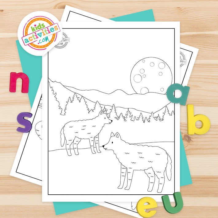 Wolves Coloring Pages Square