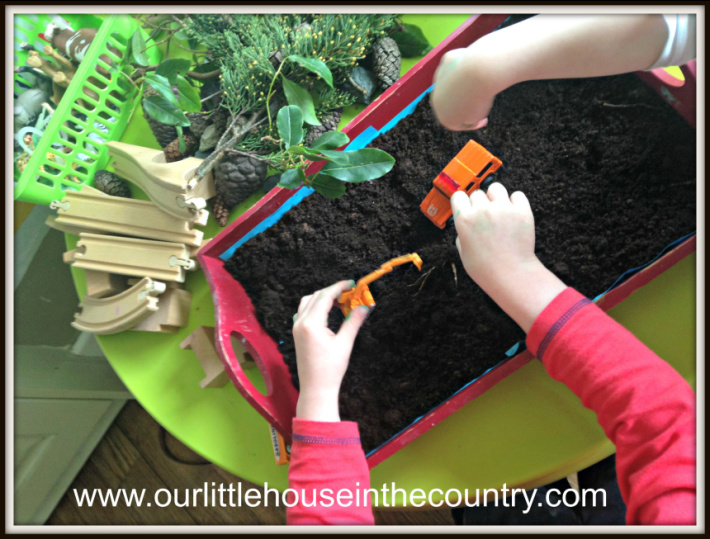 compost gardening sensory play from Our Little House in the Country