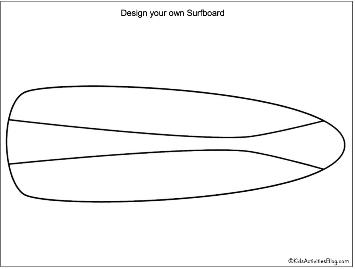design your own surfboard coloring page - Free Printable from Kids Activities Blog