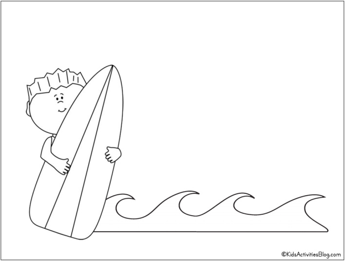 kid surf board and surf coloring page - Free Printable from Kids Activities Blog