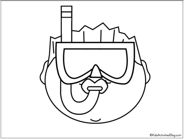 kid with snorkel and mask coloring page - Free Printable from Kids Activities Blog