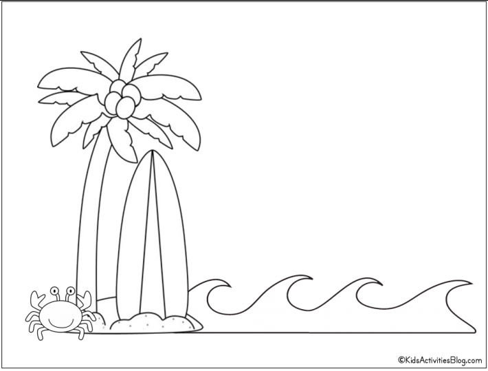 palm tree surf board and crab at ocean coloring page - Free Printable from Kids Activities Blog