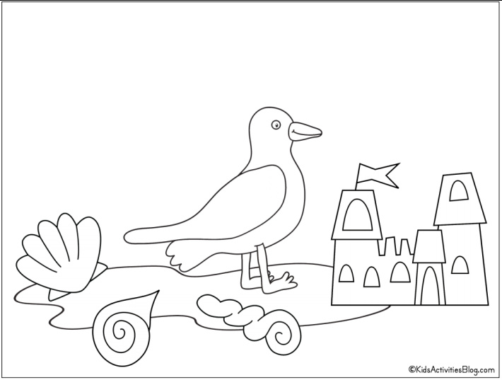 sea gull and sandcastle coloring page - Free Printable from Kids Activities Blog