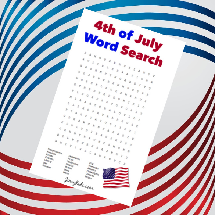 4th of July Word Search from Jinxy Kids