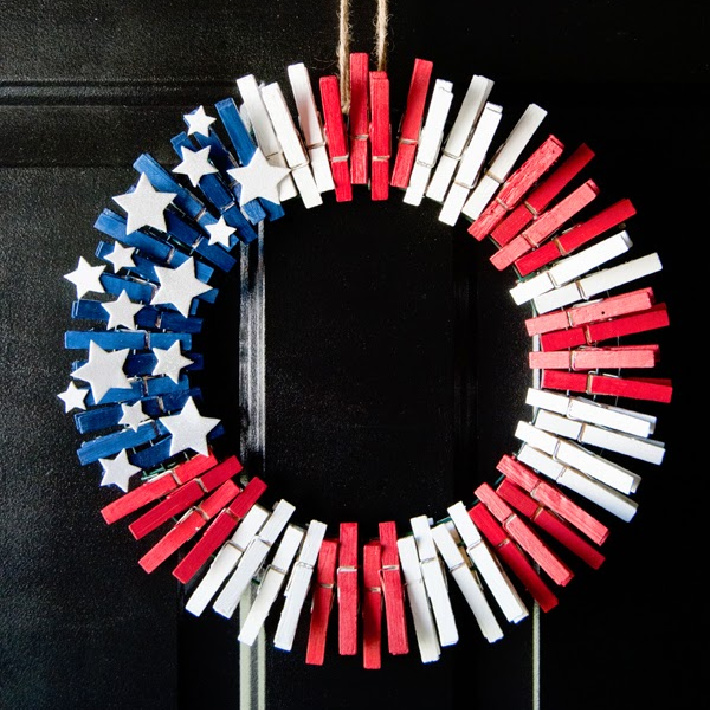 4th of July clothespin wreath from preciously paired - clothespin wreath on front door for Independence Day