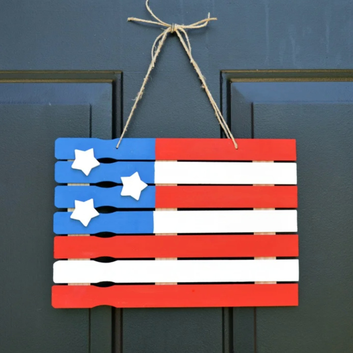 4th of July front door paintstick flag from Glue Dots