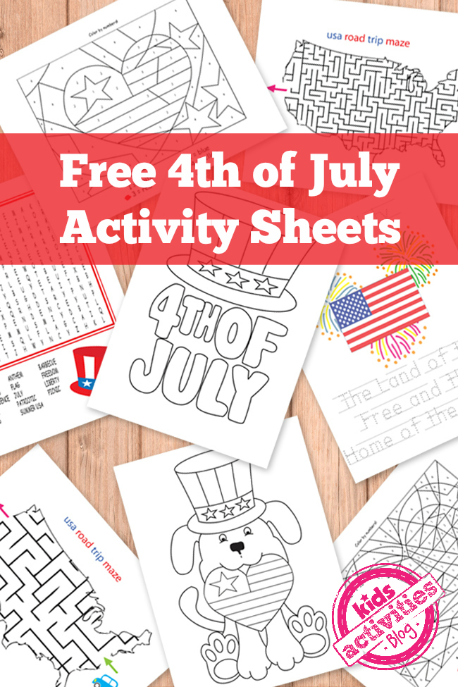 Activity sheet pdf for Fourth of July printables from Kids activities blog shown