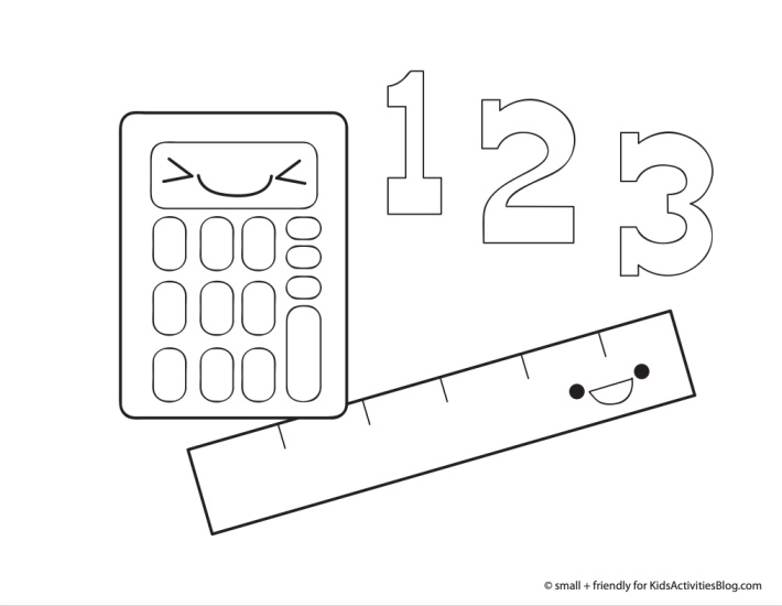 Back to school coloring page pdf shown with a calculator, ruler and the numbers 1 2 and 3.  They each have happy faces and are silly
