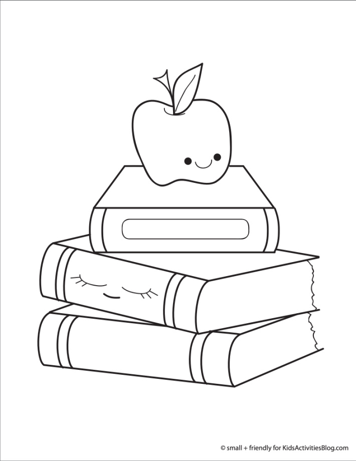 Back to school coloring page pdf shown with an apple and a stack of text books for school