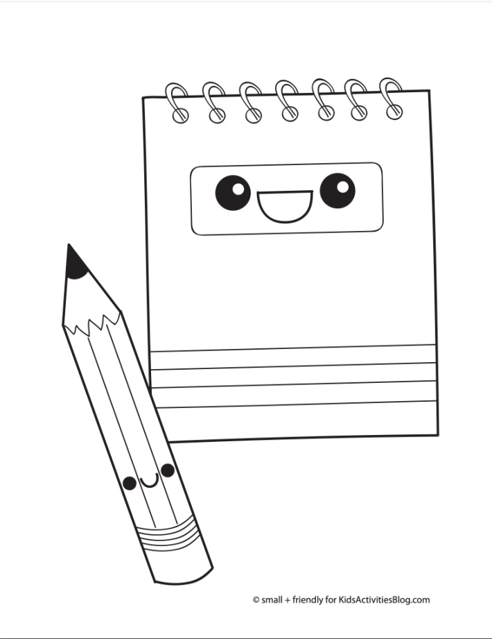 Back to school coloring page pdf shown with a spiral notebook and pencil ready for color