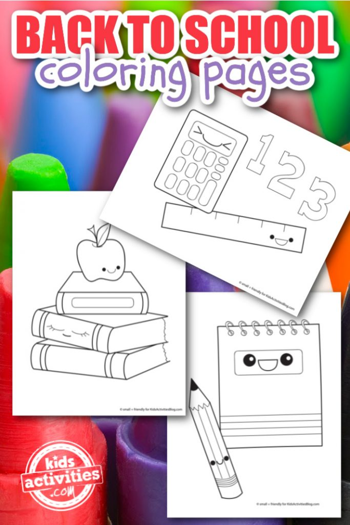 Back to School Coloring Pages to download and print from Kids Activities Blog - coloring page pdfs shown