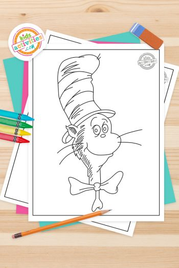 Cat in the hat Coloring Pages Feature Image