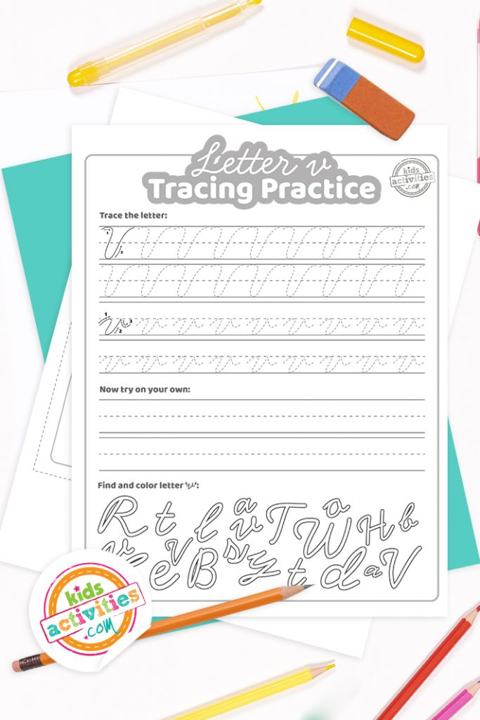Printed pdf cursive handwriting practice worksheets for letter v with colored pencils