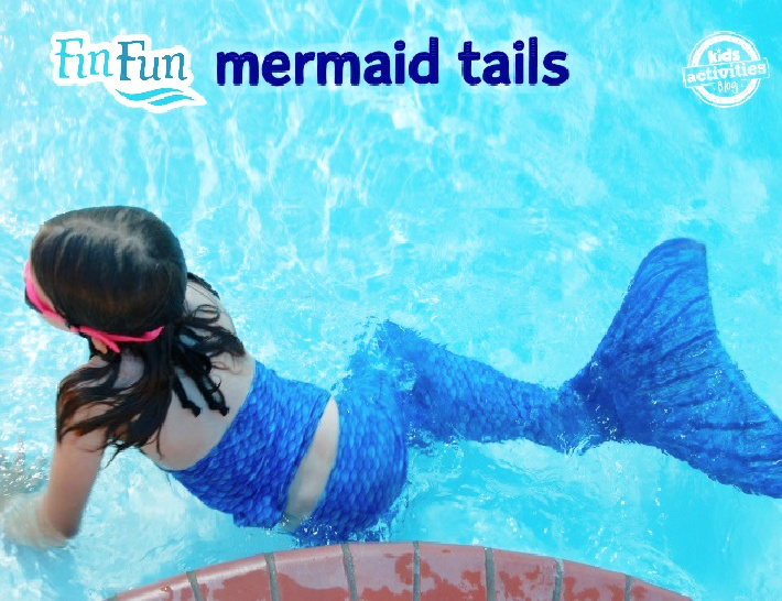 Fin Fun Mermaid Tails on Kids Activities Blog - one of the kids in the family wearing a fin fun mermaid tail in the pool