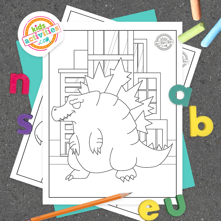 Godzilla Coloring Pages Square