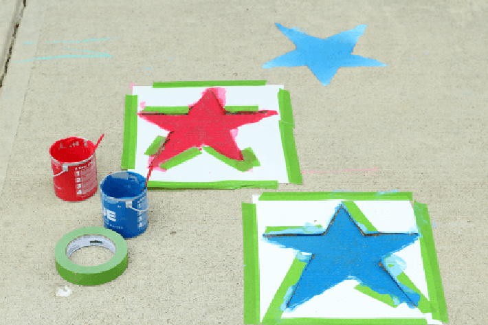 Paint fourth of july sidewalk stars from fun learning for kids - two stars shown in process of being painted with templates and sidewalk paint