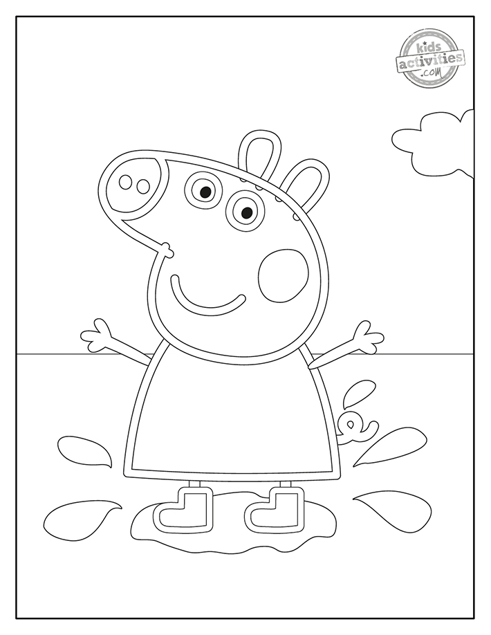 Peppa Pig muddy puddly coloring page