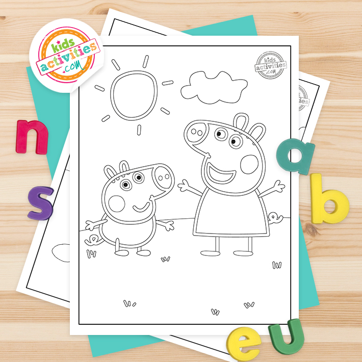 Peppa Pig Coloring Pages Square