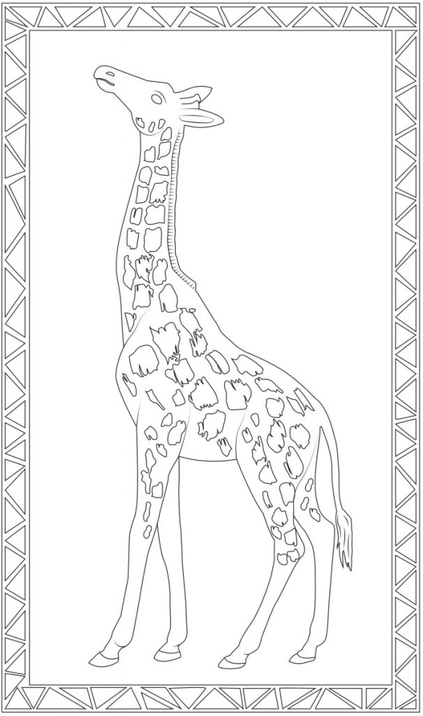 Printable Jumbo coloring pages - giant coloring for kids - giraffe picture to color