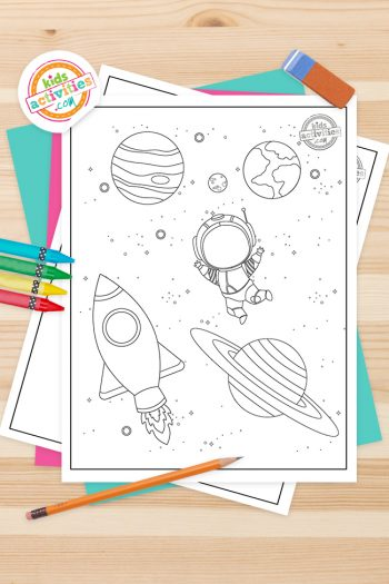 Space Coloring Pages Feature Image