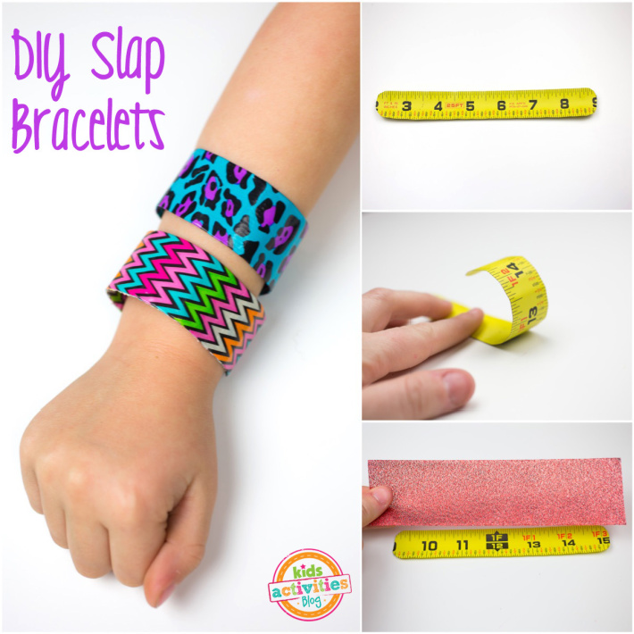 Steps to Make a homemade slap bracelet from a tape measure and duct tape - Kids Activities blog