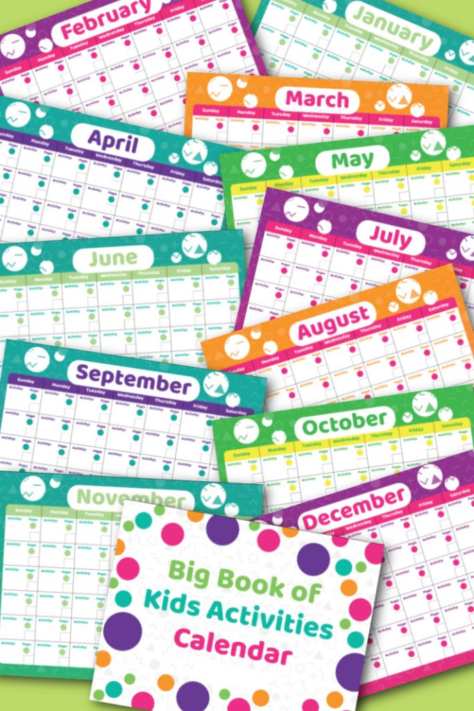 Big Book of Kids Activities printable play calendar for 365 days of play.  12 months of printable pdf shown from January to December plus the cover