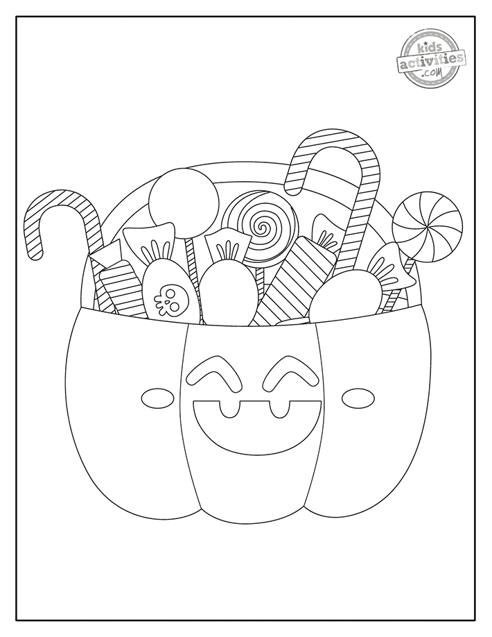 trick or treat free coloring page