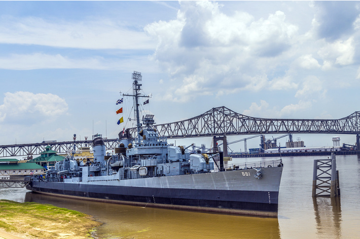 USS Kidd Veterans Memorial Museum - Baton Rouge Things to Do - Kids Activities Blog - ship on the banks of the Mississippi