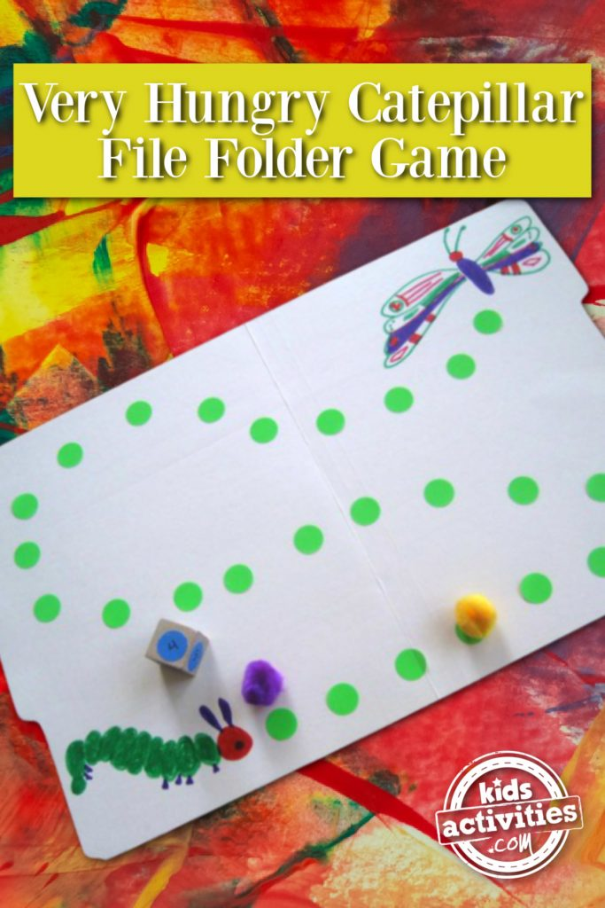 Very Hungry Caterpillar File Folder Game - Kids Activities Blog - finished file folder game shown with dice