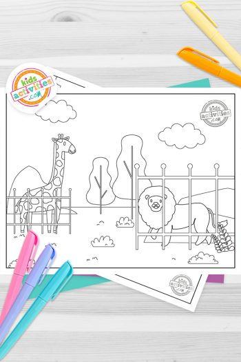 Zoo Coloring Pages Feature Image