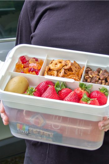 A snack tub packed for a road trip with kids